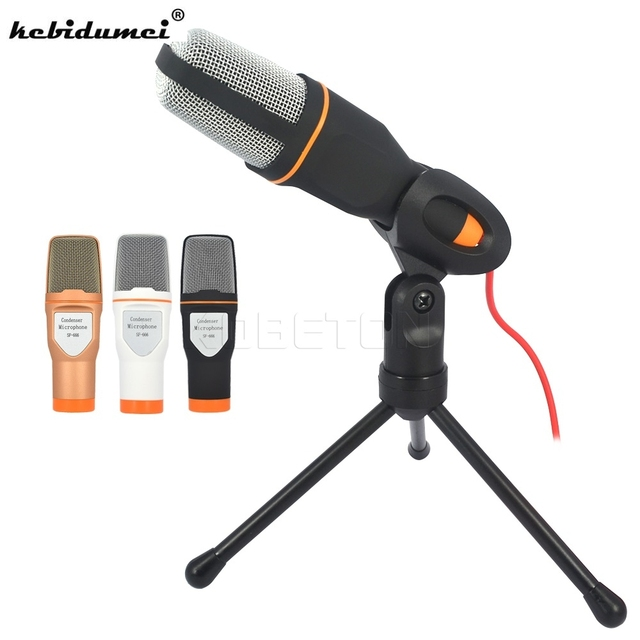 kebidumei Portable Wired Stereo Condenser Microphone with Holder Clip for Chatting Singing Karaoke PC Laptop SF-666 studio mic