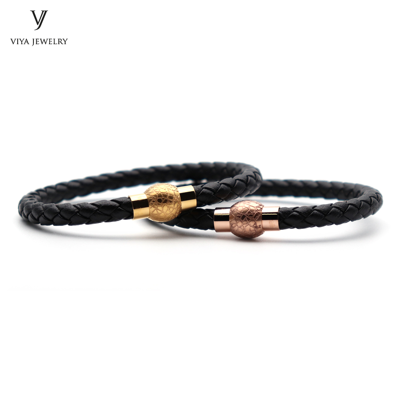 2 Pcs Fashion Custom Couple Leather Bracelet Simple Magnet Lock Men Leather Bracelets Best Holiday Gift Friendship Gift With Box