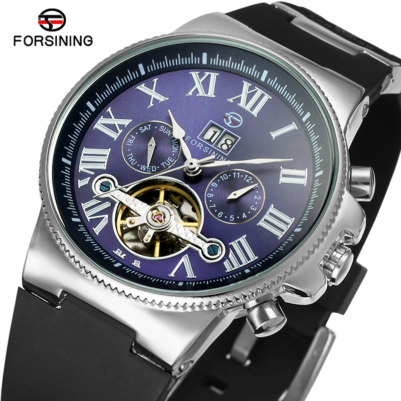 FORSINING Men Luxury Mechanical Watches Men's Sports Tourbillon Automatic Watch Rubber Strap Auto Date Week Month Calendar Clock orkina luxury brand automatic mechanical men s watch black brown leather strap wrist watch gifts auto date week month display
