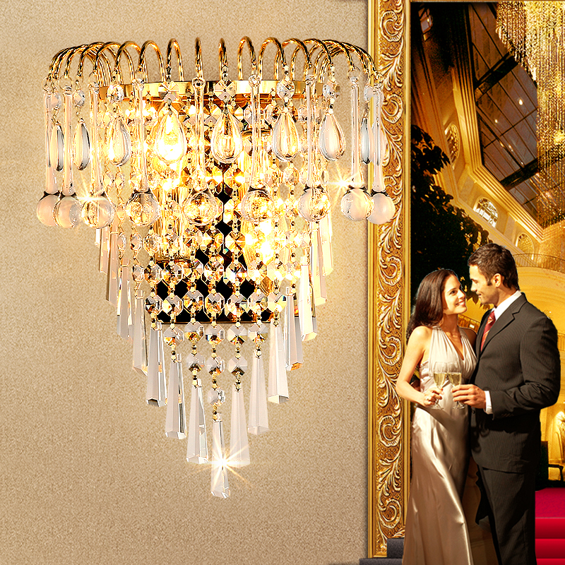 Modern simple creative golden K9 crystal wall lamp living room background wall crystal wall lamp passage bedroom bedside lamp simple modern crystal wall lamp bedroom bedside led wall lamp living room sofa background wall lamp villa hotel staircase light