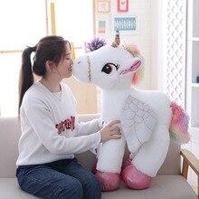 1 pc 50/60/90 cm Kawaii unicornio juguetes de peluche gigante Animal de peluche caballo juguetes para niños suave muñeca hogar Decoración amante regalo de cumpleaños