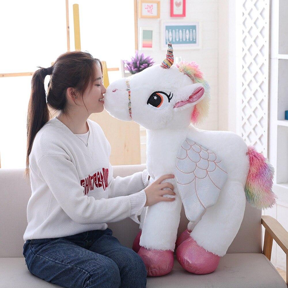 1 stück 50/60/90 cm Kawaii Einhorn Plüsch Spielzeug Riesigen Ausgestopften Tier Pferd Spielzeug für Kinder Weichen puppe Wohnkultur Liebhaber Geburtstags Geschenk