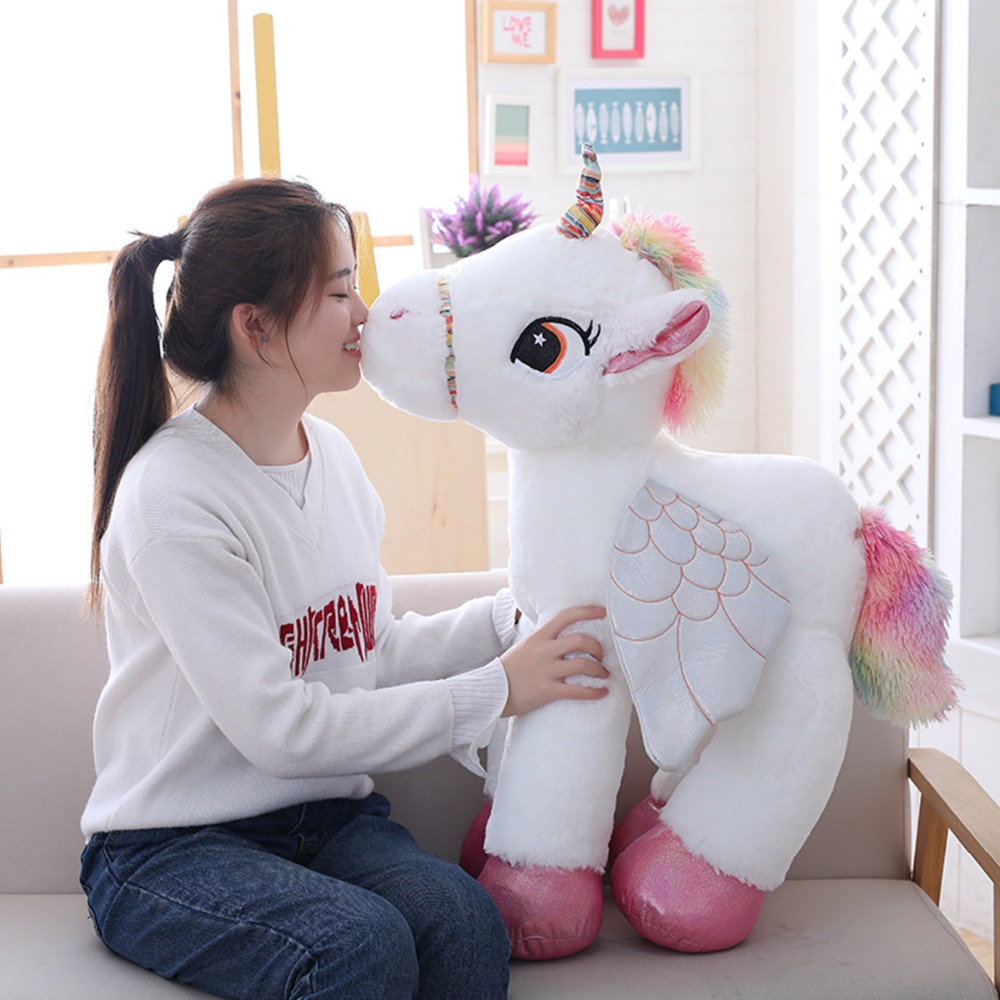50//60//90cm Unicorn with Wings Plush Toy Giant Stuffed Animal Horse Kid Soft Doll