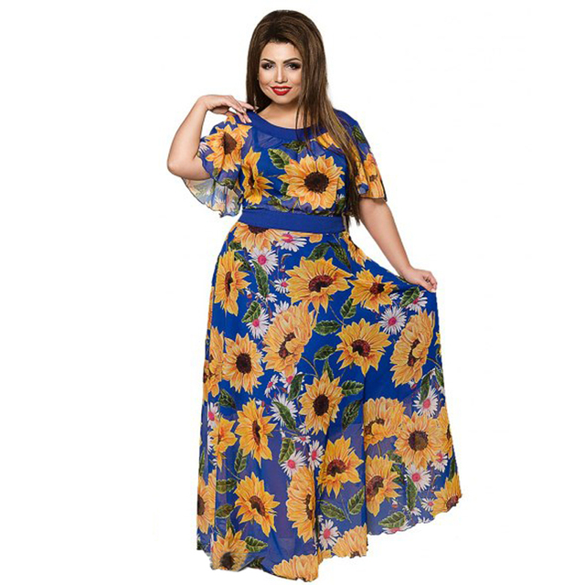 019a7612c2 6XL Sunflower Women Party Dress Plus Size Women Clothing Summer Beach Dress  2019 Sexy Maxi Dress Big Size Chiffon Long Dress