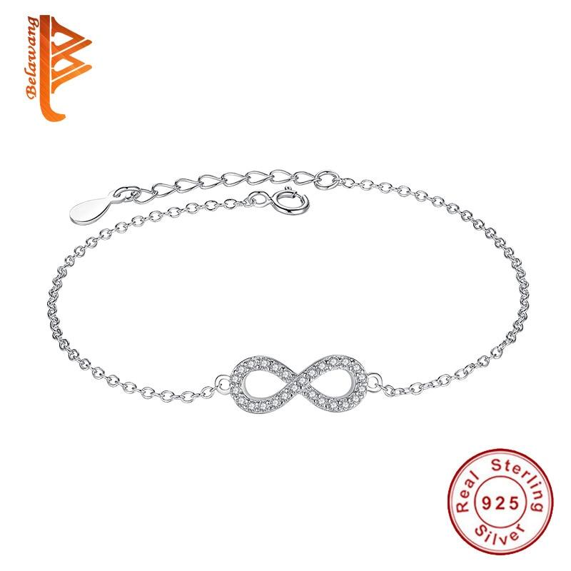 Auténtica nueva marca mujer pulsera infinito 925 plata esterlina CZ Crystal Charm Bracelet para mujeres joyería de la boda regalo YS1001
