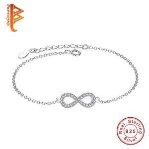 Authentic New Brand Women Infinity Bracelet 925 Sterling Silver CZ Crystal Charm Bracelet For Women Wedding Jewelry Gift YS1001