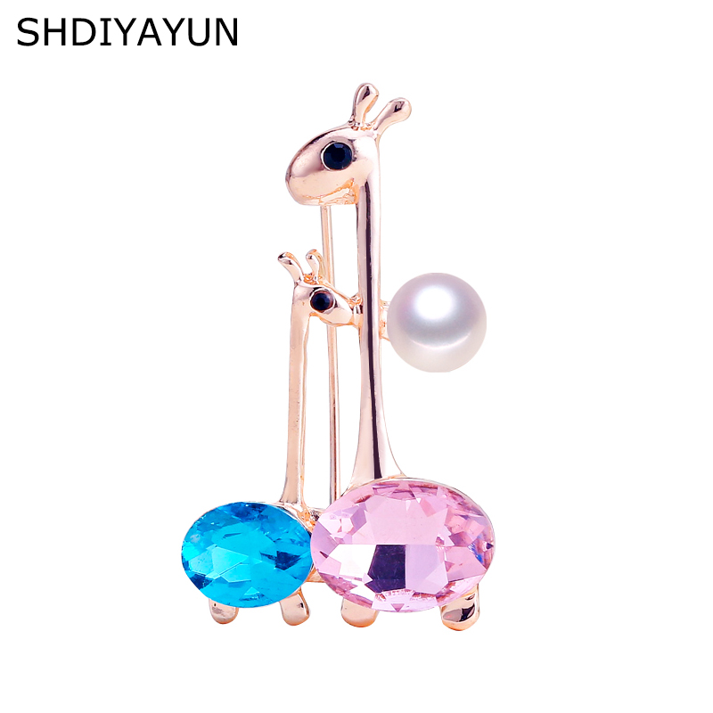 SHDIYAYUN High Guality Pearl Brooch Rinestone Two Deer Brooch For Women Fashion Brooch Pins Natural Freshwater Pearl Jewelry