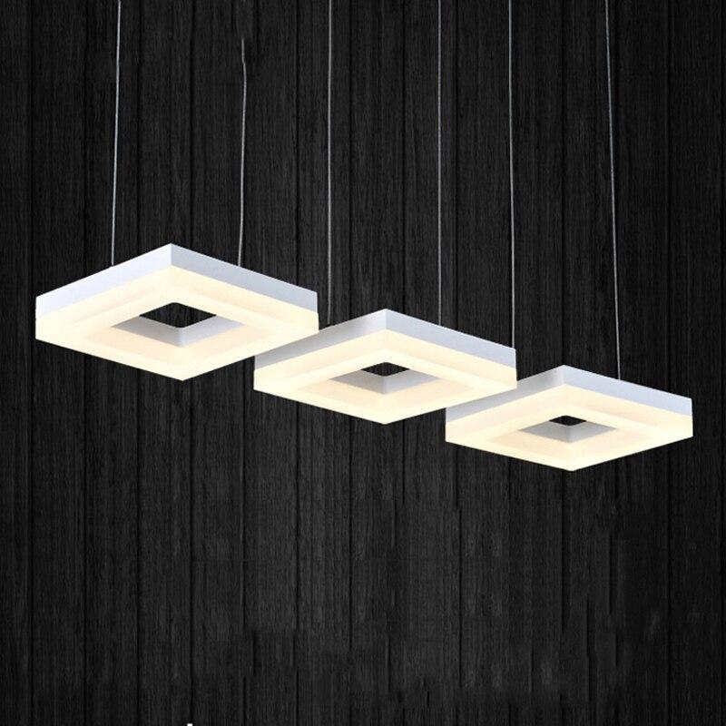 moda anel retangulo pingente de luz lampada led sala de jantar suspendu restaurante longo cordao pendurado