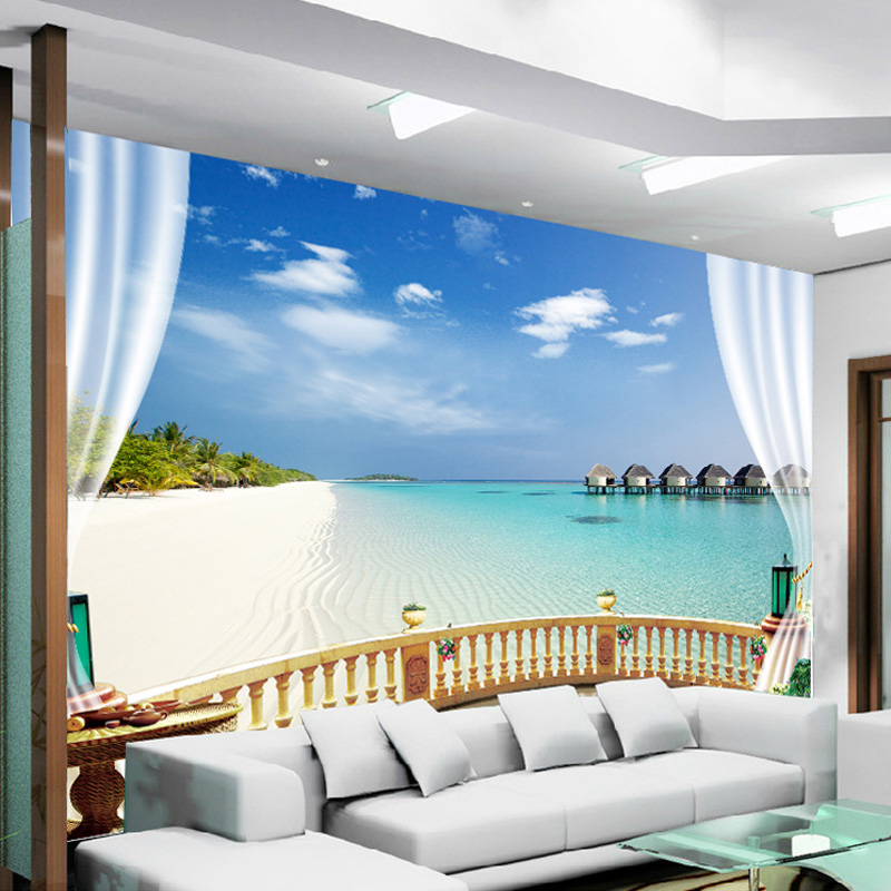 3D Wall Murals Wallpaper Seaside Landscape Mediterranean Beach Window Views  Photo Wallpaper Living Room Hotel Backdrop 3D Fresco In Wallpapers From  Home ... Part 59