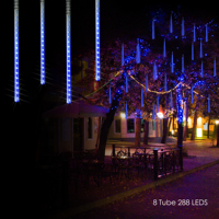 Solar LED Outdoor Lights Meteor Shower Rain Lights Icicle Raindrop Snow Falling Lights Garden Holiday Wedding