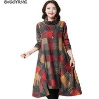 Autumn Winter Restore Ancient Big Yards Loose Vestido Turtleneck Long sleeved Grid Dress Women Thicken Long Dresses A0164