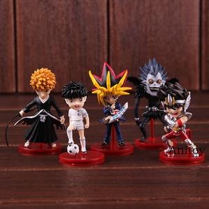 Image 2 - Anime Bleach Kurosaki Ichigo Saint Seiya Ozora Tsubasa Yugi Muto Ryuk figurka pcv Model kolekcjonerski figurki zabawki 5 sztuk/zestaw