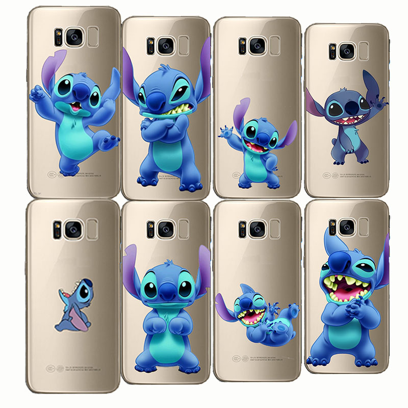 Phone Case Capa Silicone Clear Stitch Funny Cute Cartoon Coque Funda Cover for Samsung Galaxy Note 4 5 8 S8 S9 edge plus S6 S7 in Fitted Cases from Cellphones Telecommunications