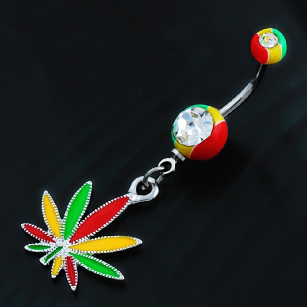 1Plot Multicolor Maple Leaf Navel Pircing Belly Button -9466