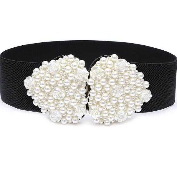 Women's Runway Fashion Pearl Beaded Elastic Cummerbunds Female Dress Corsets Waistband Belts Decoration Wide Belt R1468