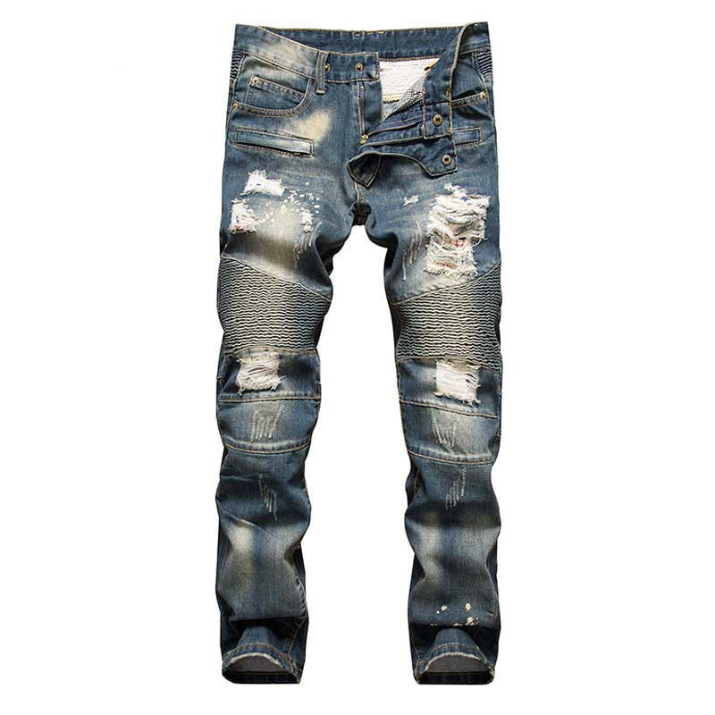 Retro colors jeans homme 2019 new Europe funky hole patches distressed jeans  slim Hole straight leg rock jeans Hot Sale