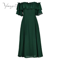 Young17 elegant dress green backless pullover short sleeve pleated beauty elegant female party dress strapless sexy girl dresses