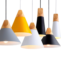 Dining Room Pendant Lamp For Home Lighting Nordic Modern Pendant Lights Wooden Aluminum Lampshade Colorful Abajur