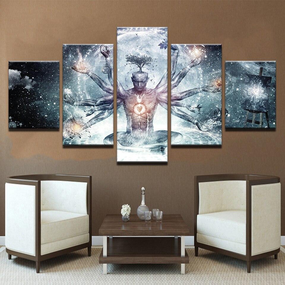Deco Cadre Photo Mur peinture modulaire image moderne cuadros 5 panneau alex gris décoration  toile art cadre mur pour salon chambre d'enfants
