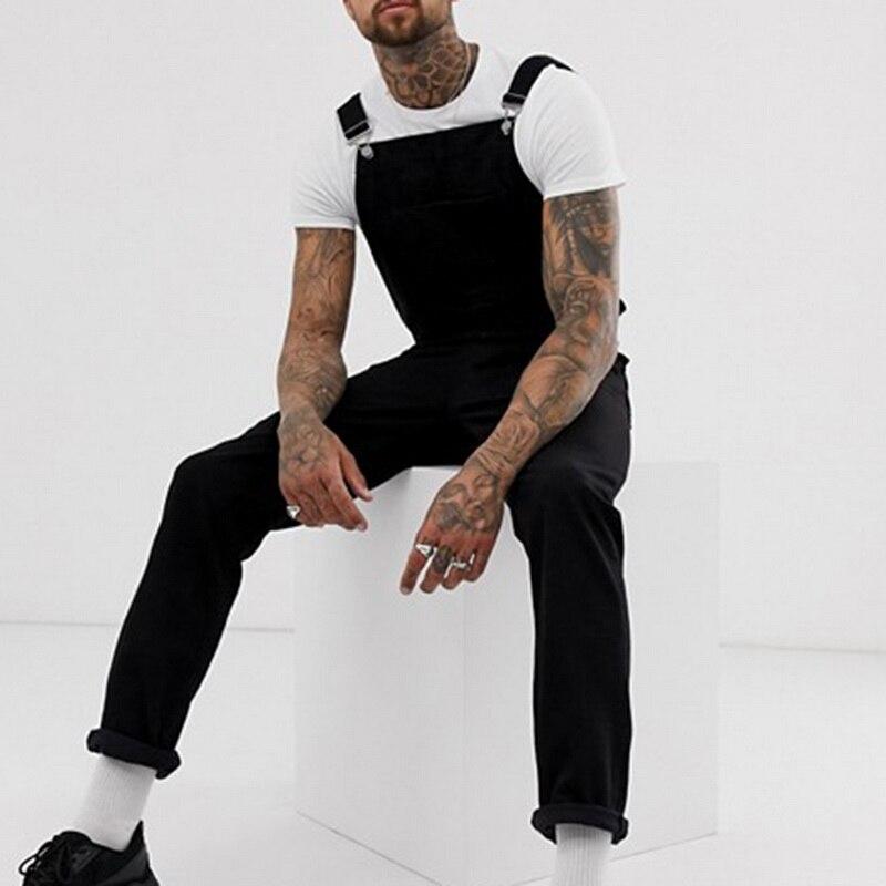 VERTVIE 2019 Men's Black Ripped Denim Jeans Jumpsuit Autumn Denim Long Overalls Casual Hip Hop Streetwear Jeans Suspender Pants(China)
