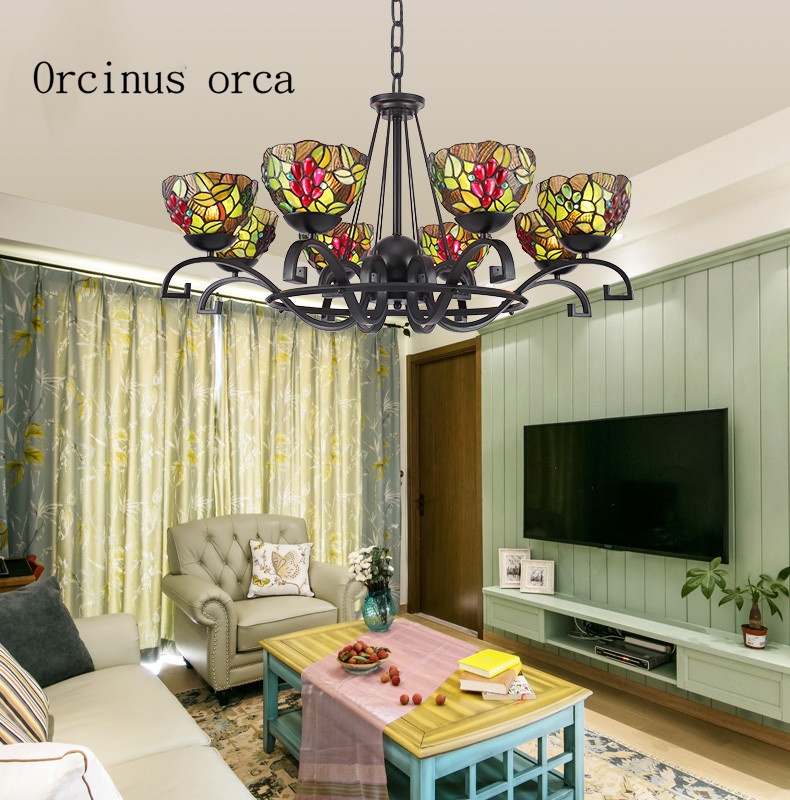 Mediterranean retro stained glass chandelier living room bedroom pastoral village LED drawing creative personality Chandelier