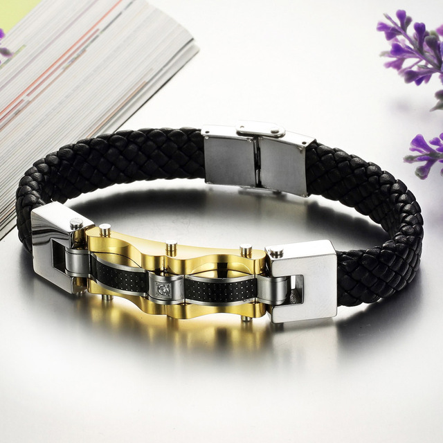 Personality mens leather bracelet gold stainless steel men jewelry bracelets bangles fashion male accessories pulseras hombre