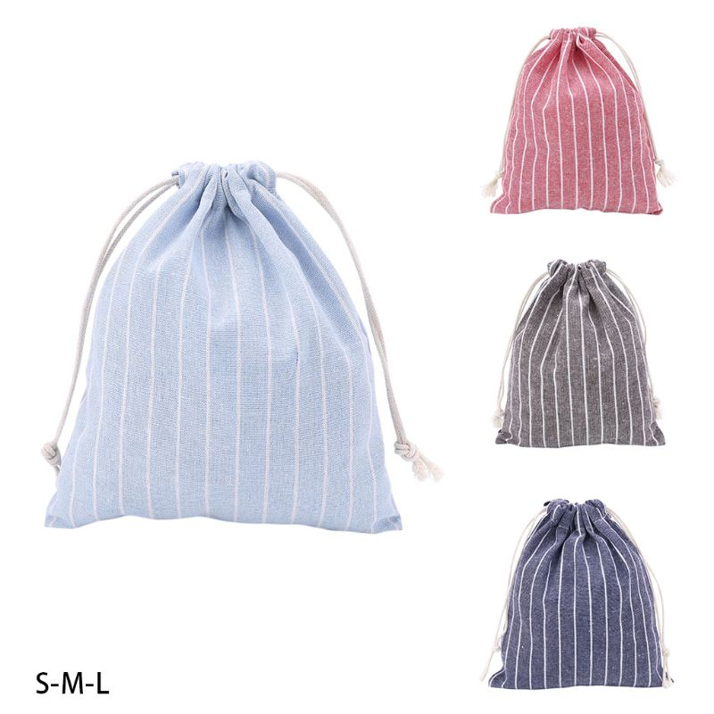 THINKTHENDO 1PC Christmas Candy Party Storage Bag Cotton Linen Drawstring Tea Gift Portable Bags Makeup Bag For Travel