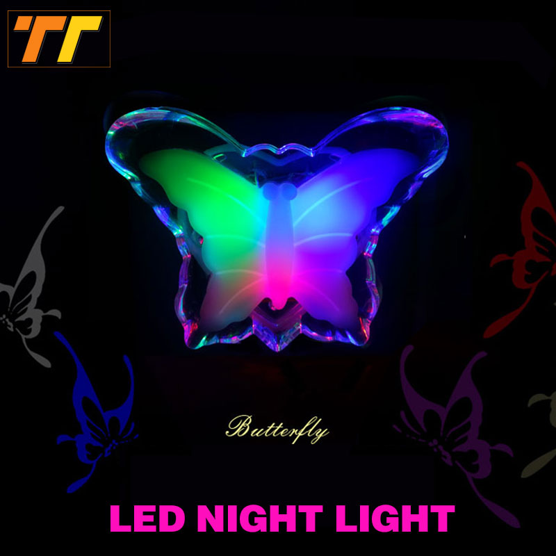 LED Butterfly Night Light Energy Saving Lovely Color RGB Romantic Wall Light Night Lamp Decoration Bulb For Baby Bedroom EU Plug 1pcs e27 t80 led energy saving lamp light bulb velas led decorativas home lighting decoration 40w ac85 265v led lamp