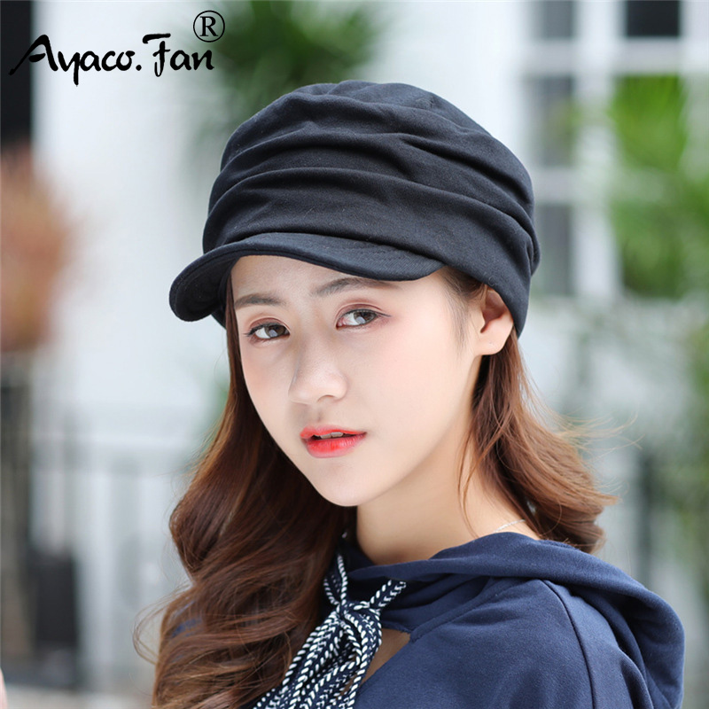 New Women Winter Hat Warm Visors Knitted Hats For Woman Female Girls Black Simple Cap Autumn And Winter Ladies Fashion Hat