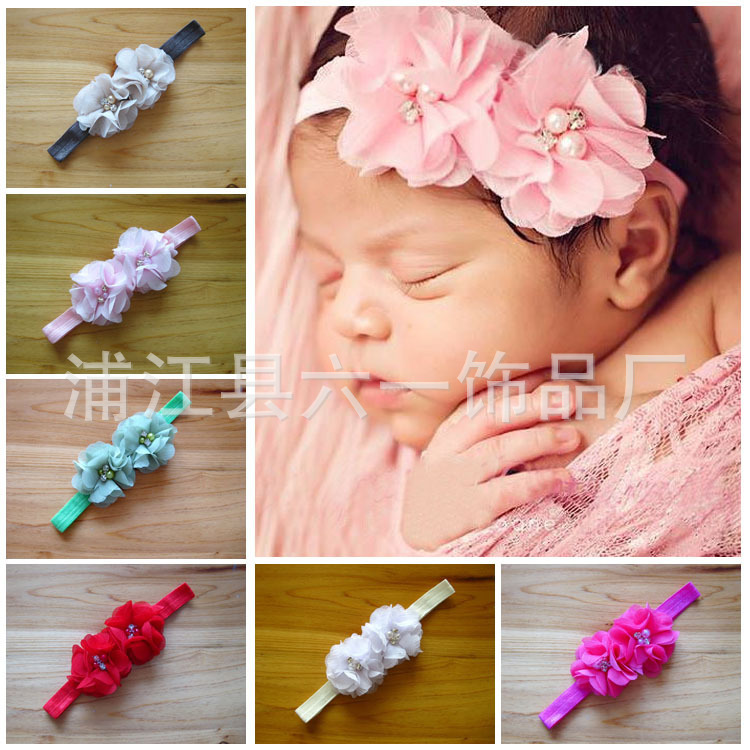 0097523abbce NºNew Flower Headbands two flowers hairbands with pearl   hair ...