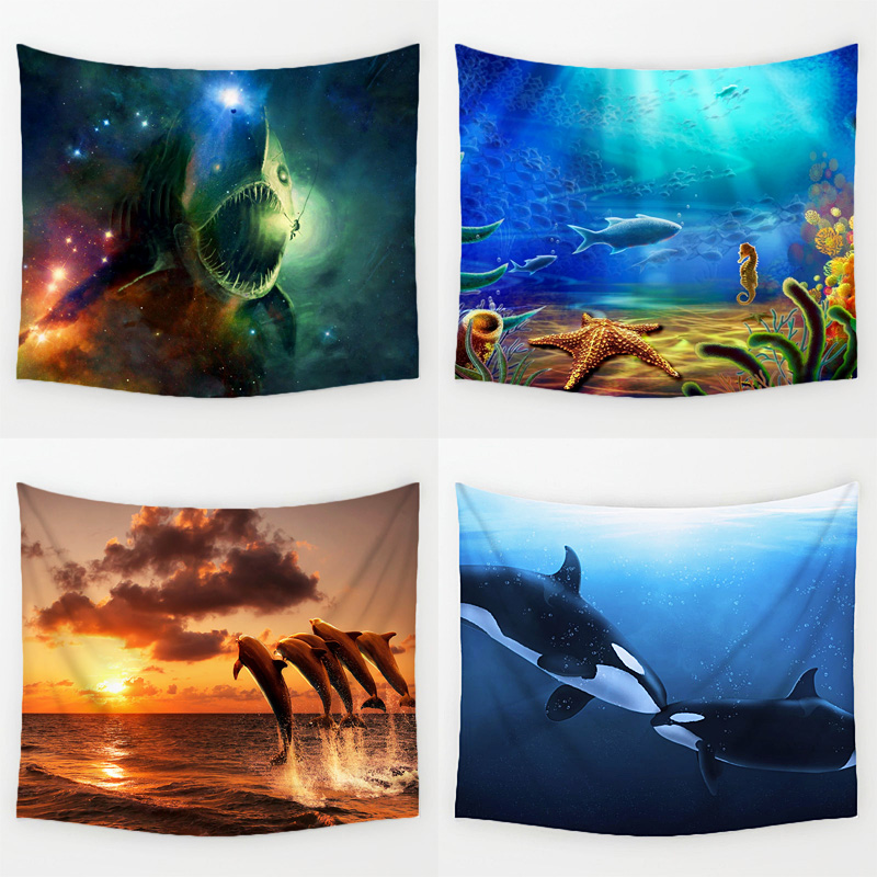 Comwarm Funny Joyous Ocean Animals Series Swimming Dolphin Killer Whale Pattern Wall Hanging Polyester Tapestry Home Decor Art|tapestry art|tapestry wall art|wall tapestry art - title=