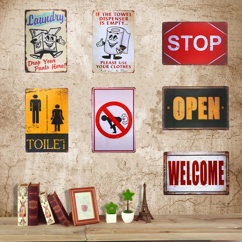 Vintage carteles de chapa metálicos Stop Welcome OPEN Toilet Bar Beer Art Posters Decoración para el hogar Restaurante Café Café Placas de pared