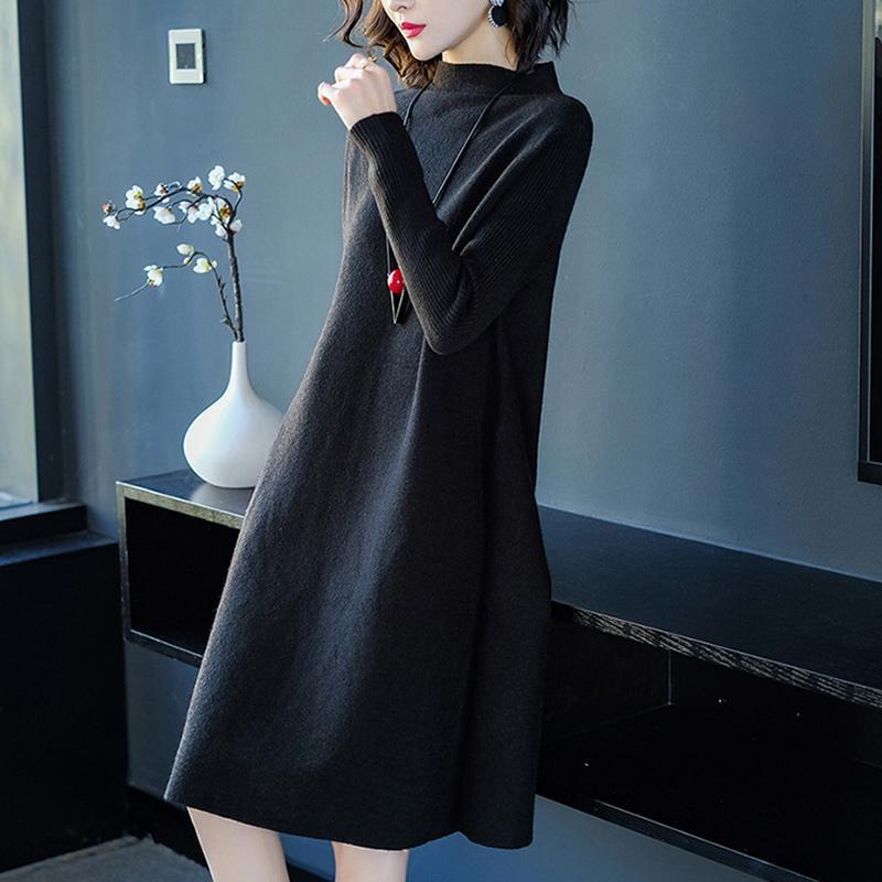 Femmes robe hiver lâche Style cachemire tricoté robes 2018 nouvelle mode automne chaud Long pull robe femme épais tricots - 3
