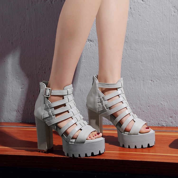 caced6e3308 ... PXELENA Hot Rome Punk Gothic Sandals Women Platform Thick Square Chunky  Block High Heels Sandals Hollow ...