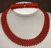 Classic Red Jaspe r stone handmade beaded woven choker necklace and wrap bracelet