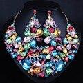 Perlas africanas Joyería Grande declaración de Flores de Cristal Pendientes Del Collar de Lujo Novias joyería de la Boda establece