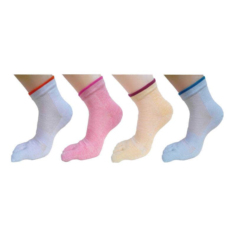 Новые стильные сетчатые женские носки с полными носками одноцветные удобные дышащие женские хлопковые носки с пятью пальцами (4 пар/лот)