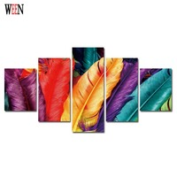Colorful Feathers Canvas Art With Framed Direatly Handed Modern Wall Pictures For Living Room HD Print Large Cuadros Decoracion
