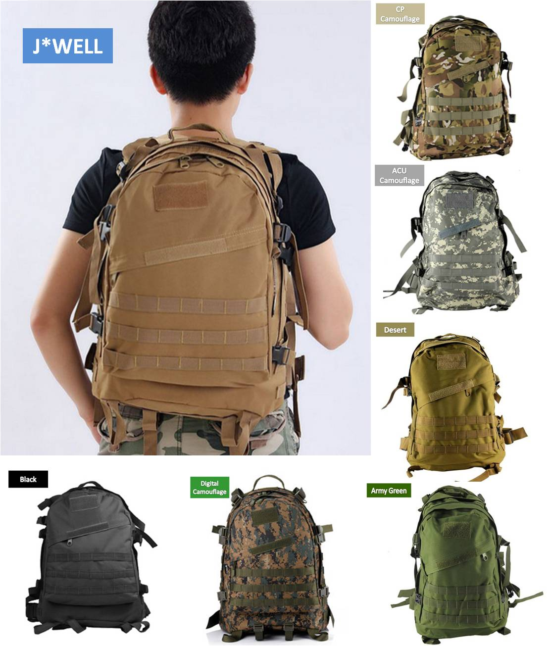 1pc Unisex 40L Molle 3D Waterproof Army Military Outdoor Tactical Camping  Hiking Backpack Nylon Mesh Softback Rucksack Sport Bag 45e55be9a1bdb