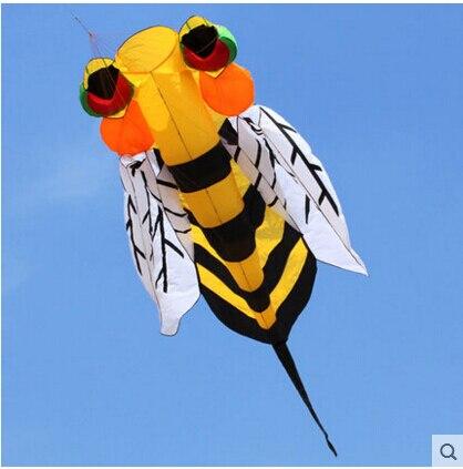 Livraison gratuite de haute qualité 3 m abeille doux cerf-volant jouets avec barre de contrôle ligne diamant visage dinosaure cerfs-volants bobine reine cerf-volant