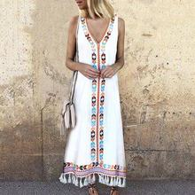 2019  New Yfashion Women Bohemian Style V-neck Tank Dress Fashion Print Fringe Dress цена 2017