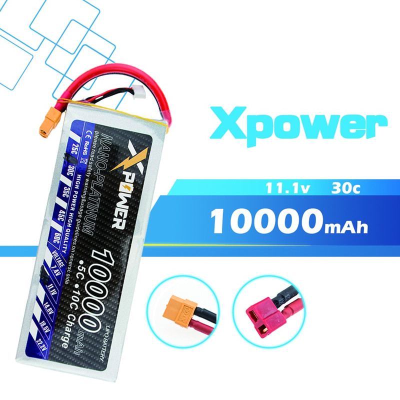 11.1 V 10000 mAh 3 S lipo batterie 30C batteries avec XT60/T/EC5/XT90 prise pour hélicoptère RC quadrirotor drone pièces VS VOK 3 S Lipo