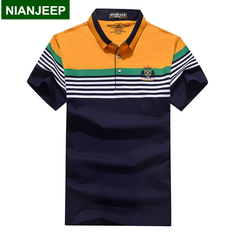 NIANJEEP Summer Men Fashion Stripes   POLO   Shirts Breathable High Quality Male Cotton Casual Short Sleeve   Polos   Shirt Homme Camisa