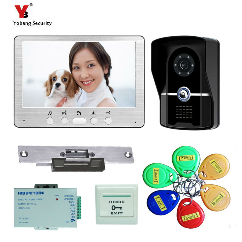 Yobang Security 7-inch video Intercom door phone with Electric Lock RFID keyfobs Camera Intercom Doorbell phone Viewer For Home цена и фото