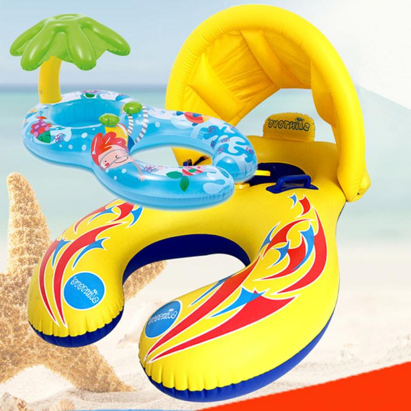 Parent-child Double Swimming Ring Sun Protection Inflatable Baby Swim Ring Float Boat with Removable Canopy Swimming Pool Toy