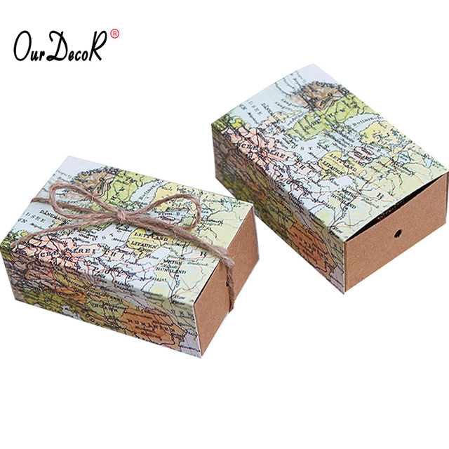 50 pieces world map cuboid wedding paper favor candy boxes gift boxes with string wedding birthday