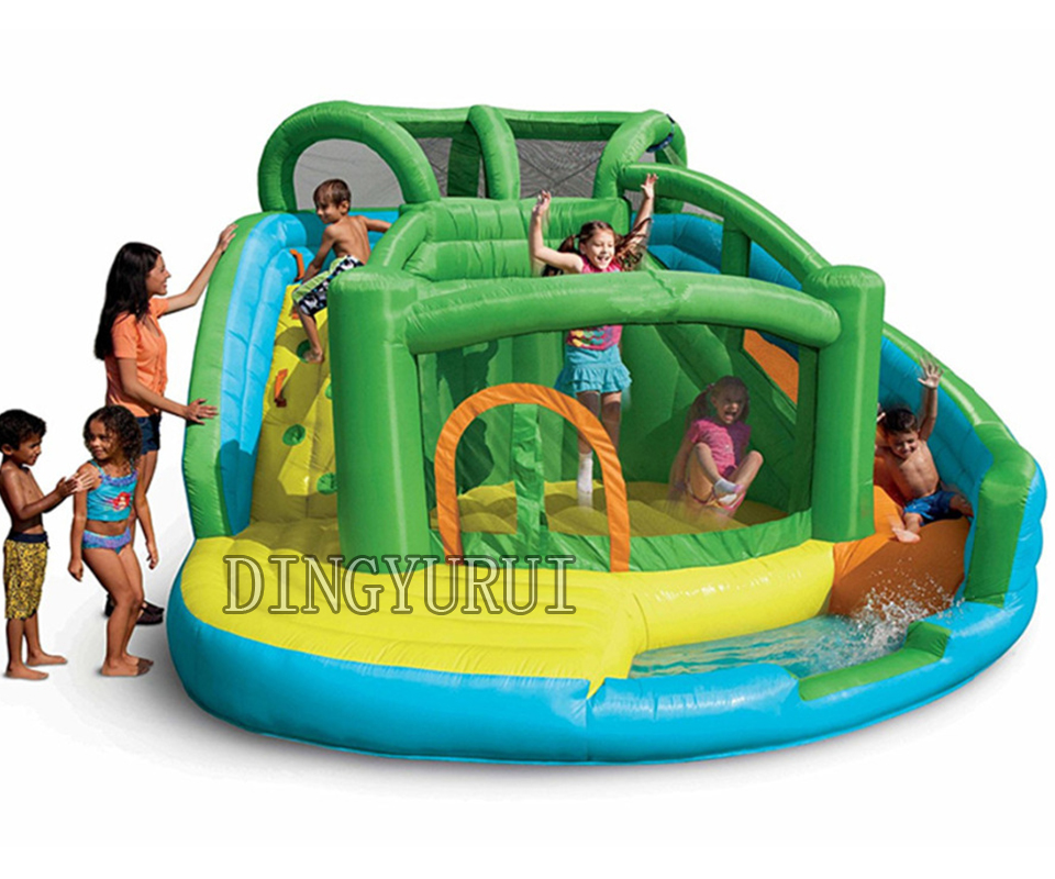 Happy hop Amusement Park Inflatable Water Slide Inflatable Bouncer Castle jumping slide pool for children