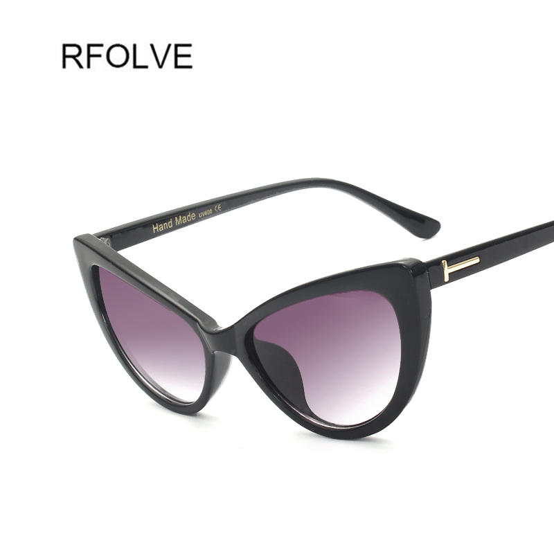 RFOLVE Womens Designer Sunglasses Big Cat Eye Sun Glasses Tea Pink Clear Lens Travel Sunglasses UV400 Fashion Shades Gift RF8806