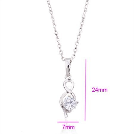 QUALITY PLATINUM COLOR 2.0 CT PRINCESS CUT GRADE AAA CZ DIAMONDS PENDANT, COME WITH 1 PC FREE CHAIN & GIFT BOX! (110517-02)