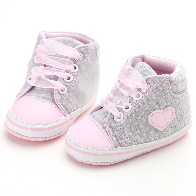Infant Newborn Baby Girls Polka Dots Heart Autumn Lace-Up First Walkers Sneakers Shoes Toddler Classic Casual Shoes 13